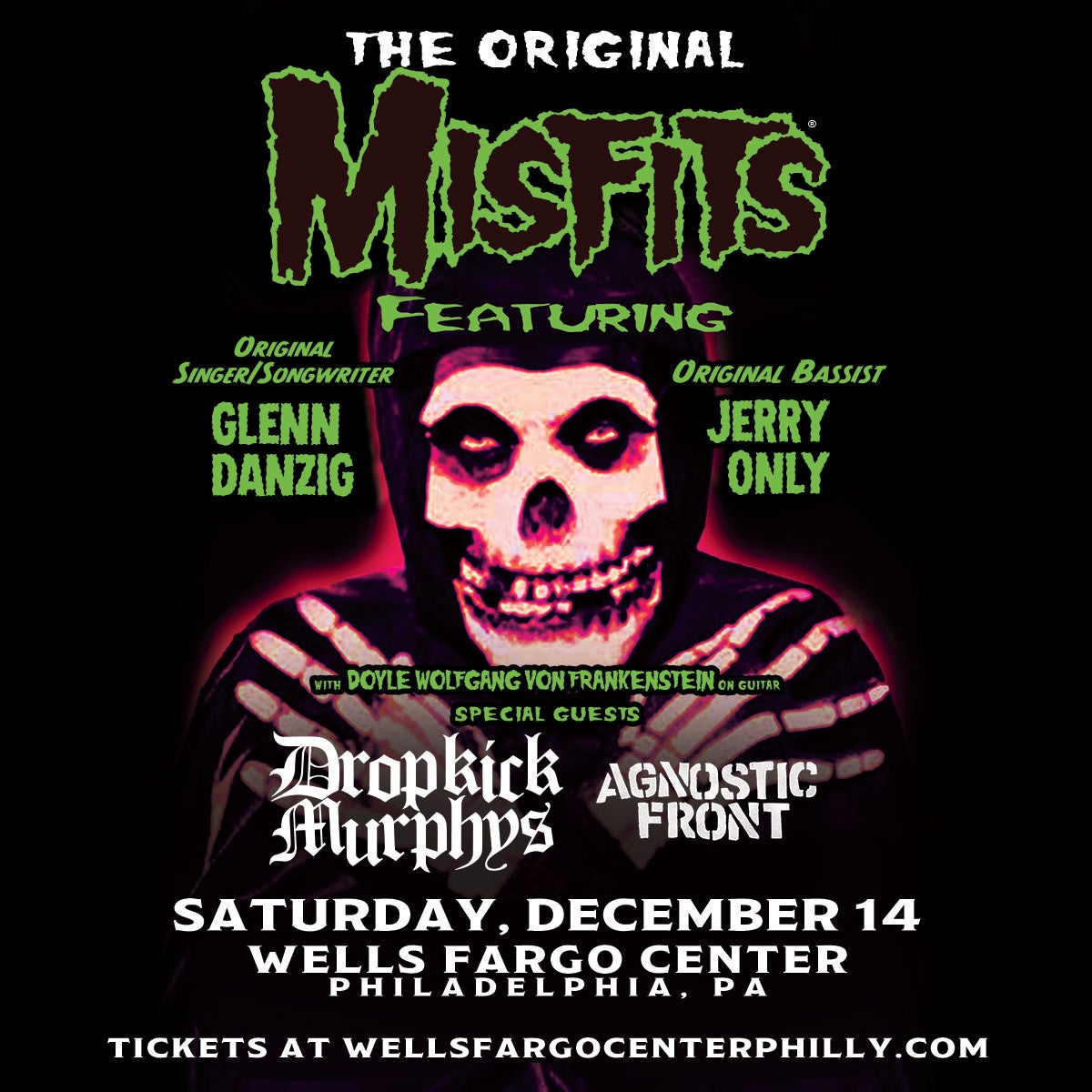 Punk Icons The Original Misfits Featuring Glenn Danzig And Jerry Only To Perform At Wells Fargo Center On Saturday, December 14